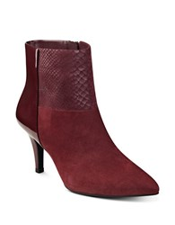 Anne Klein Yarisol Suede And Leather Blend Ankle Boots Wine