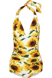 Dolce And Gabbana Ruched Floral Print Halterneck Swimsuit White
