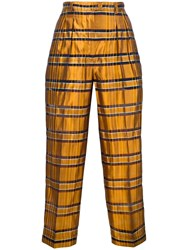 Christian Wijnants Puneh Check Cropped Trousers Yellow