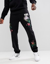 Billionaire Boys Club Jogger With Embroidered Floral Detail In Black