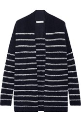 Vince Striped Wool Blend Boucle Cardigan Midnight Blue