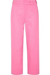 Adaptation Cropped Embroidered High Rise Straight Leg Jeans Pink