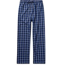 Derek Rose Barker Checked Cotton Pyjama Trousers Midnight Blue