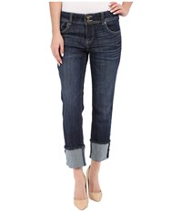 Kut From The Kloth Cameron Straight Leg Wide Roll In Provide W Dark Stone Provide Dark Stone Women's Jeans Blue