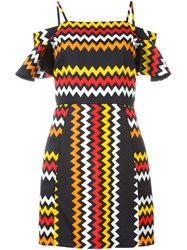 Msgm Zig Zag Print Dress Black