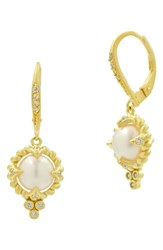 Freida Rothman Textured Pearl Drop Earrings Pearl Gold