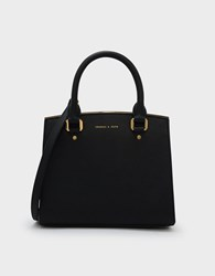 Charles And Keith Classic Structured Handbag Black