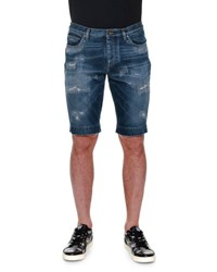 Dolce And Gabbana Distressed Denim Shorts Blue