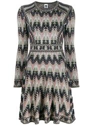 M Missoni Flared Knitted Dress Blue