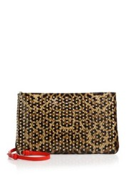 Christian Louboutin Posh Leopard Print Leather Crossbody Bag Brown Gold