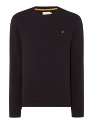 Farah Bernard Regular Fit Loopback Crew Neck Sweat Black