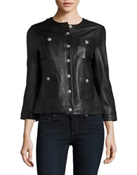 Karl Lagerfeld Pocketed Leather Jacket Black