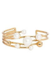 Women's Kate Spade New York 'Bits And Baubles' Faux Pearl Wrist Cuff Cream