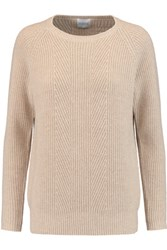 Madeleine Thompson Ribbed Knit Wool And Cashmere Blend Sweater Beige