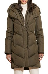 Lauren Ralph Lauren Women's Quilted Hooded Coat With Knit Trim Litchfield Loden
