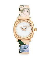Ted Baker Floral Mother Of Pearl Analog Fashion Watch Rose Gold