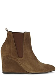Lanvin Brown Suede Ankle Boots Beige