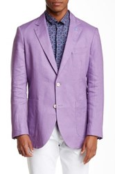 Tailorbyrd Solid Two Button Notch Lapel Linen Sports Jacket Purple