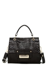 Abro Snakeskin Embossed Top Handle Fold Lock Leather Satchel Black