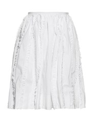 Rochas Ruffle Trim High Waisted Skirt White