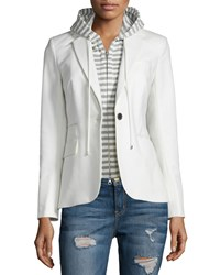Veronica Beard Striped Hoodie Dickey White Gray Women's White Grey
