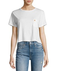Mother T Time Cropped Pocket Tee White