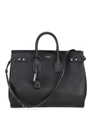 Saint Laurent Carry All Leather Briefcase Black