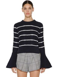 Self Portrait Ruffled Cotton Knitted Sweater Navy