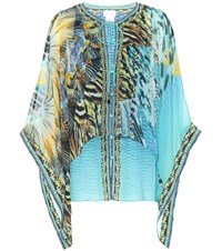 Camilla Printed Silk Blouse Blue