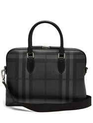 Burberry The Barrow House Check Leather Briefcase Black Grey