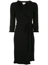 Milly Ribbed Knit Short Wrap Dress Black