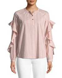 Ella Moss Striped Ruffled Long Sleeve Henley Cotton Top Pink