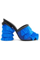 Marco De Vincenzo Leather Trimmed Fringed Satin Mules Blue