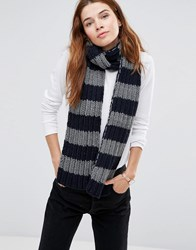 Hat Attack Chunky Stripe Scarf Charcoal Navy Grey
