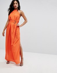 Aq Aq Maxi Dress With Ruched Detail And Belt Orange
