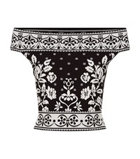 Alexander Mcqueen Floral Jacquard Stretch Knit Off Shoulder Top Female Black