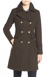 Women's Vince Camuto Wool Blend Double Breasted Officer's Coat Olive