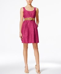 Nine West Belted Burnout Fit And Flare Dress Candy Pink