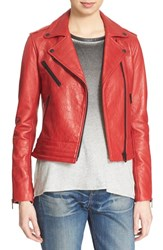 Rag And Bone Women's Rag And Bone Jean 'Chrystie' Leather Moto Jacket Red