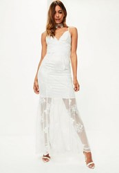 Missguided Bridal White Strappy Lace Maxi Dress