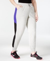 Ideology Plus Size Colorblocked Joggers Only At Macy's Heather Grey