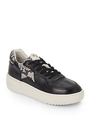 Ash Fool Snake Print Trimmed Leather Platform Sneakers Black