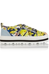 Msgm Printed Canvas Platform Sneakers Yellow
