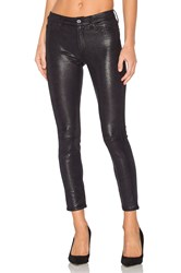 7 For All Mankind The Knee Seam Ankle Skinny Black Metal Snake