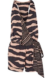 Vix Swimwear Lanai Layla Wrap Effect Striped Voile Playsuit Black
