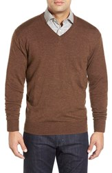 Men's Peter Millar Merino V Neck Sweater Cocoa