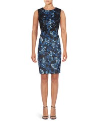 T Tahari Fiona Floral Sheath Dress True Navy
