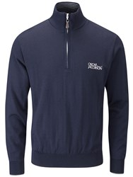Oscar Jacobson Brett Tour Lined Half Zip Jumper Dark Blue