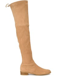 Stuart Weitzman Highland Over The Knee Flat Boots Nude And Neutrals