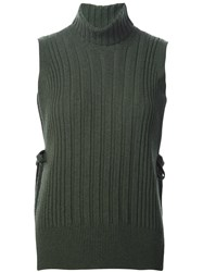 Maison Martin Margiela Ribbed Sleeveless Sweater Green